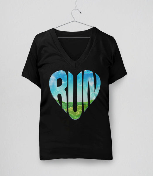 RUN | Running Typography Graphic Tee Shirt. Running quote for runners. Pictured: Black Womens V-Neck Tshirt.