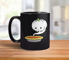 Sad Pumpkin Ghost Mug from Boots Tees