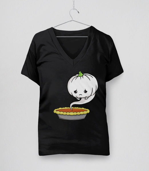 Sad Pumpkin, Black Womens V-Neck by BootsTees