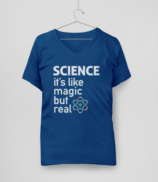 SCIENCE: It's like magic but real - funny science t-shirt, womens v-neck royal blue