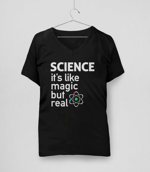 SCIENCE: It's like magic but real - funny science t-shirt, womens v-neck black