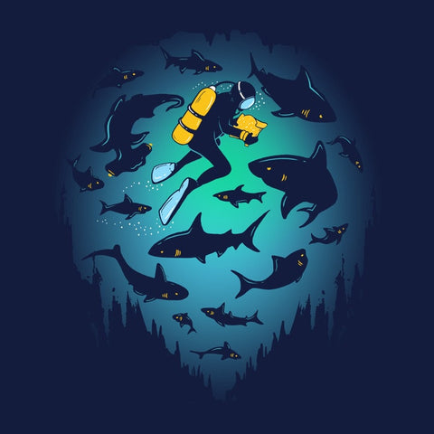 Screwed T-Shirt | Artistic graphic tee with scuba diver and sharks.