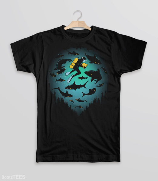 Screwed T-Shirt | Artistic graphic tee with scuba diver and sharks. Pictured: Black Kids Tee.