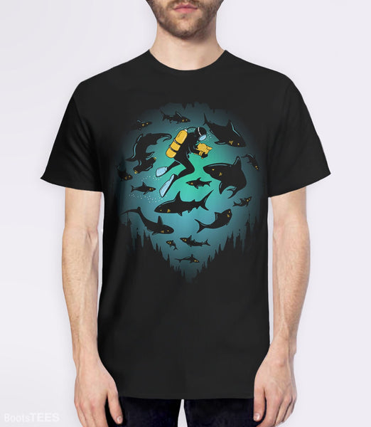 Screwed T-Shirt | Artistic graphic tee with scuba diver and sharks. Pictured: Black Mens Tee.