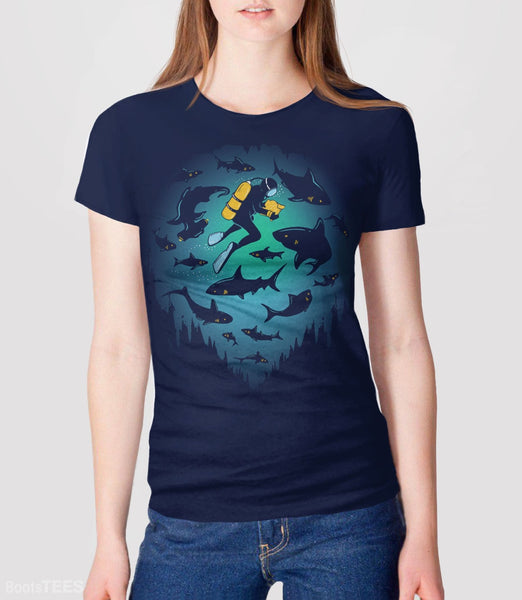Screwed, Navy Womens Tee by BootsTees