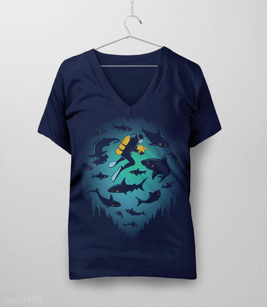Screwed T-Shirt | Artistic graphic tee with scuba diver and sharks. Pictured: Navy Womens V-Neck.