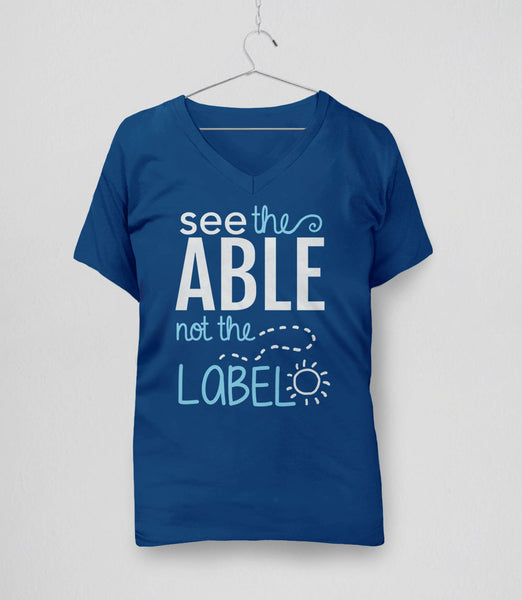 Cute Autism T-Shirt: see the able not the label - blue womens v-neck tee
