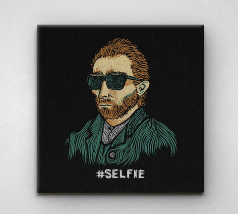 Funny Van Gogh Selfie Canvas Wall Art Print by BootsTees