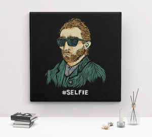 Funny Van Gogh Selfie Canvas Wall Art Print by BootsTees - 2