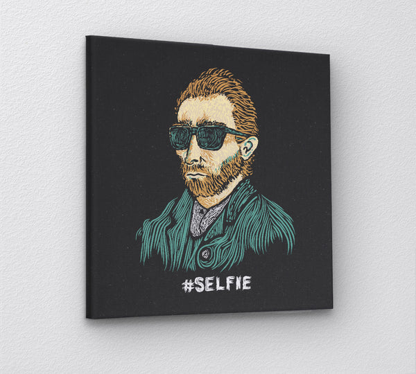 Funny Van Gogh Selfie Canvas Wall Art Print by BootsTees - 3