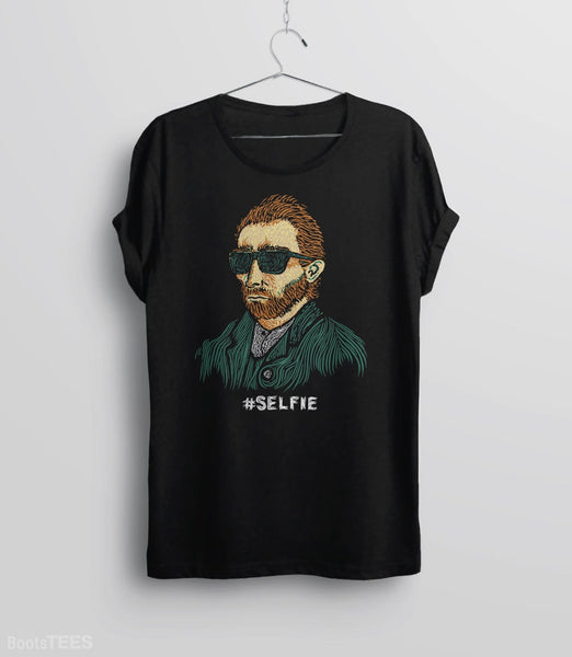 "Funny Van Gogh T-Shirt. Vincent really was the first ""Master of the Selfie."" Pictured: Black Tee."