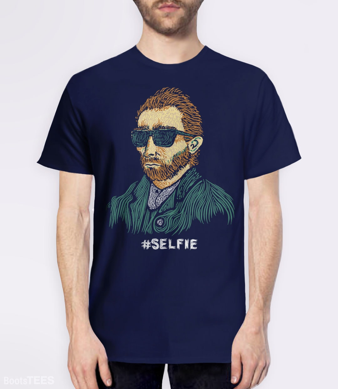 "Funny Van Gogh T-Shirt. Vincent really was the first ""Master of the Selfie."" Pictured: Navy Mens Tee."