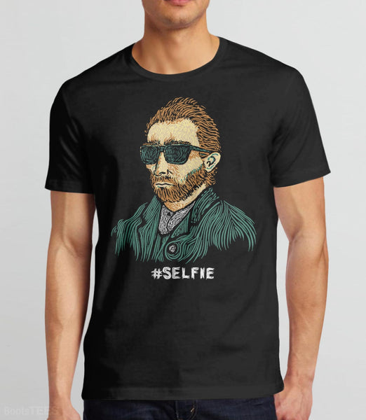 "Funny Van Gogh T-Shirt. Vincent really was the first ""Master of the Selfie."" Pictured: Black Mens Tee."