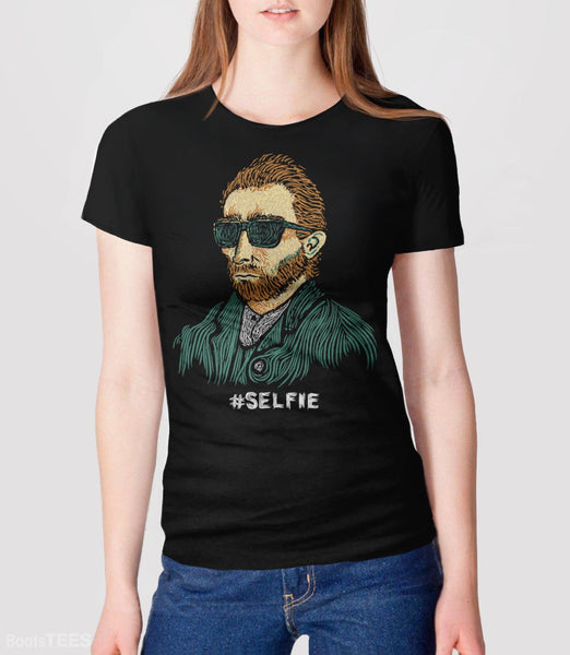 "Funny Van Gogh T-Shirt. Vincent really was the first ""Master of the Selfie."" Pictured: Black Womens Tee."