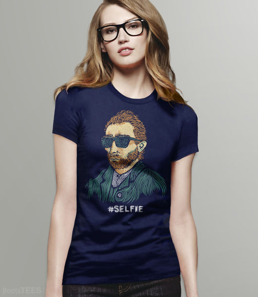 "Funny Van Gogh T-Shirt. Vincent really was the first ""Master of the Selfie."" Pictured: Navy Womens Tee."