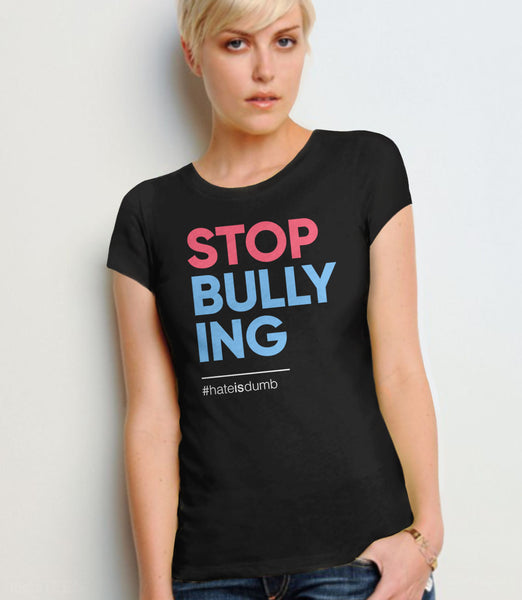 Stop Bullying anti-bullying t-shirt - black womens tee