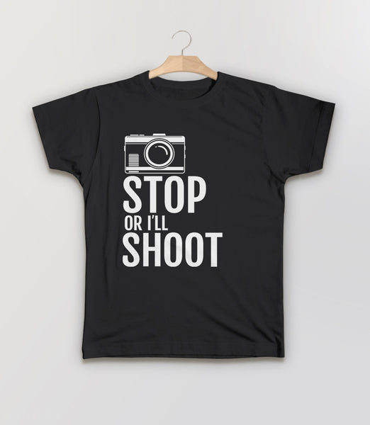 Stop or I'll Shoot, Black Kids Tee by BootsTees