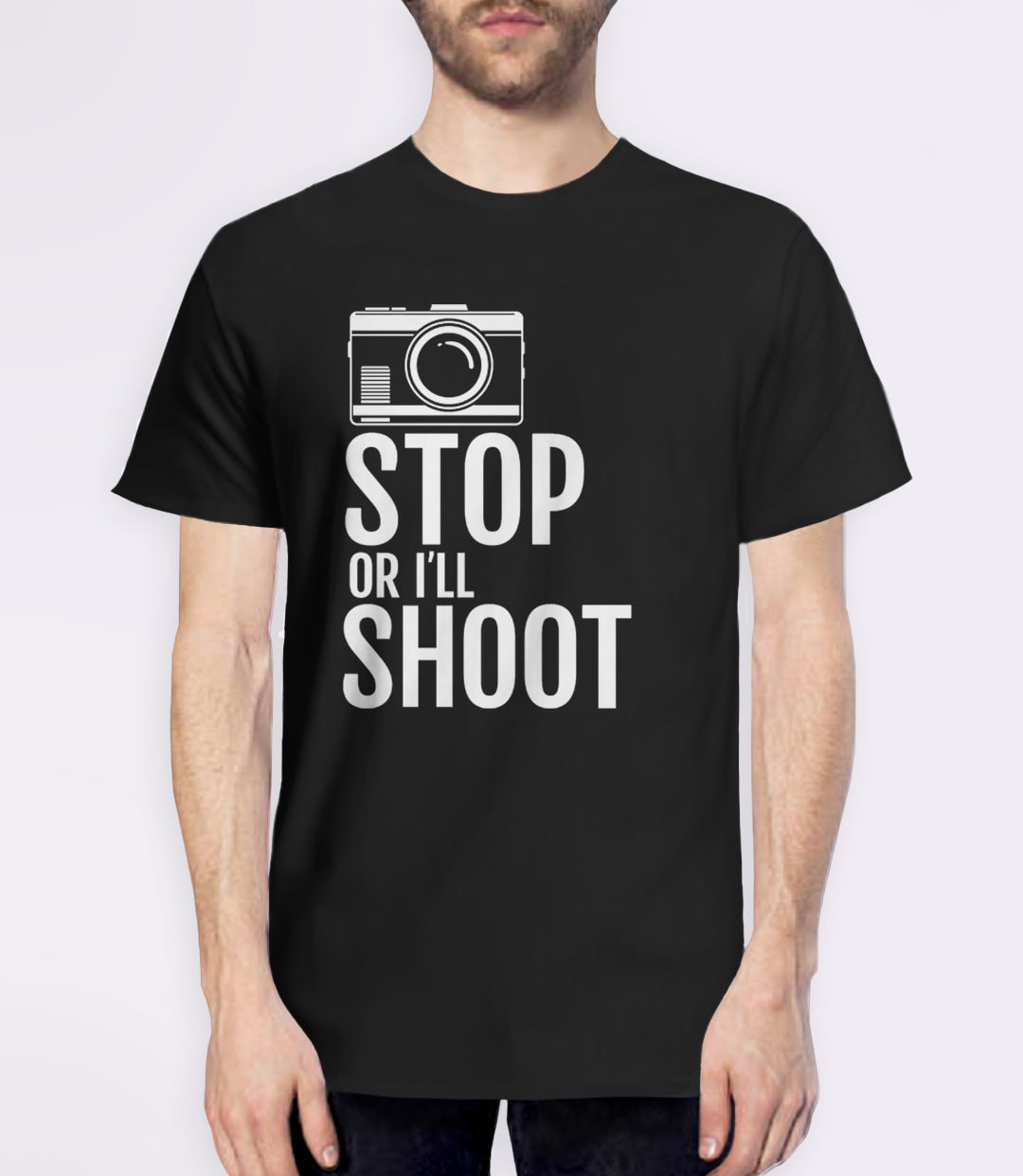 Stop or I'll Shoot, Black Mens (Unisex) Tee by BootsTees