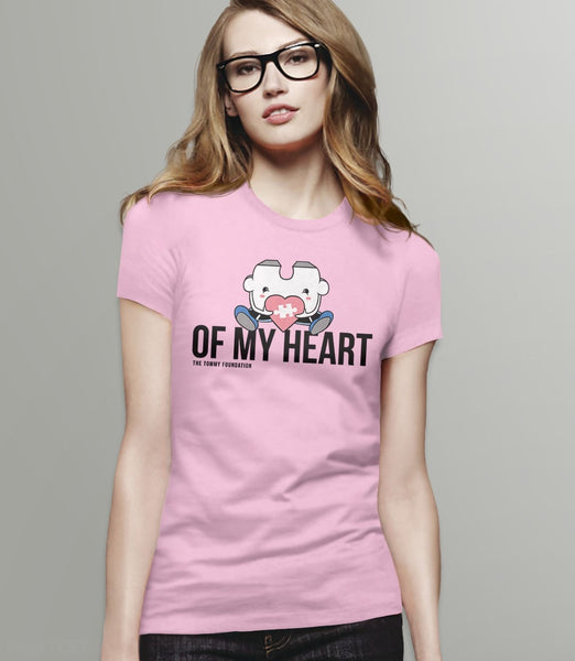 Puzzle Piece of My Heart | Cute Autism Awareness t-shirt with quote: Pink Womens Tee