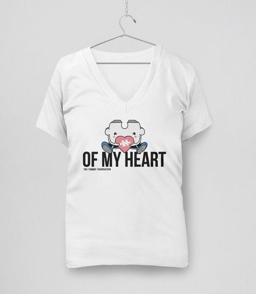 Puzzle Piece of My Heart | Cute Autism Awareness t-shirt with quote: White Womens V-Neck Tee