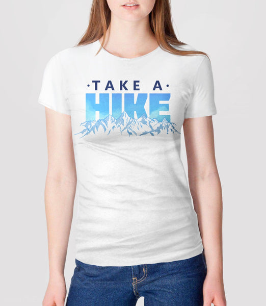 Beautiful Hiking Typography T-Shirt with Funny Outdoors Quote for Nature Lovers. Pictured: Womens Tee Shirt
