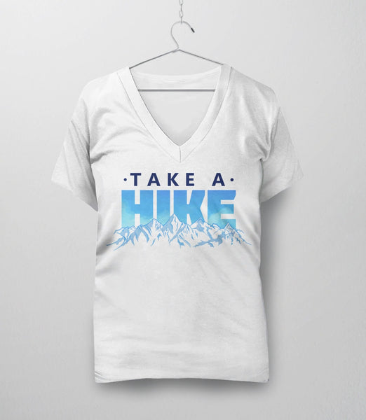 Take a Hike, White Womens V-Neck by BootsTees