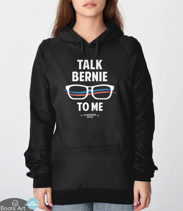 Talk Bernie to Me, Black Unisex Hoodie by BootsTees