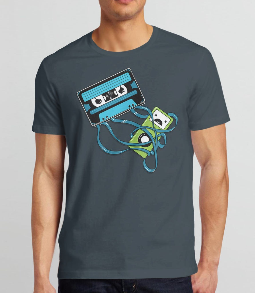 The Comeback T-Shirt | Cute retro music cassette tape tee shirt: Mens Charcoal