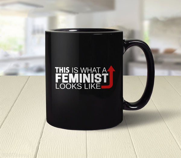 This is what a feminist looks like coffee mug with arrow - back
