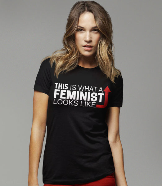 This is what a feminist looks like black t-shirt - womens tee