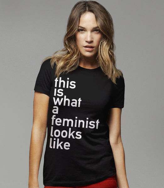 This is what a feminist looks like black t-shirt for women