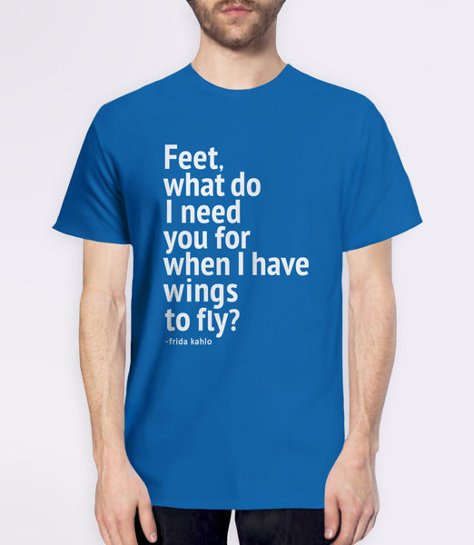 Frida Kahlo quote t-shirt - blue mens tee