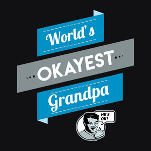 World's Okayest Grandpa, Navy Mens (Unisex) Tee by BootsTees