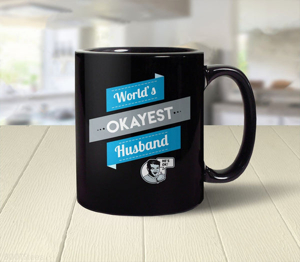 World's Okayest Husband Coffee Mug gift - back