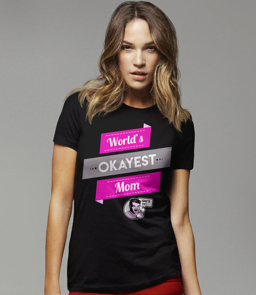 Vintage Style World's Okayest Mom T-Shirt - black womens tee