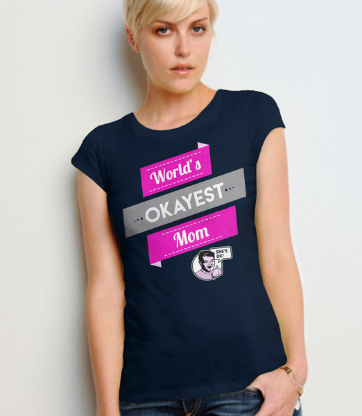 Vintage Style World's Okayest Mom T-Shirt - navy womens tee