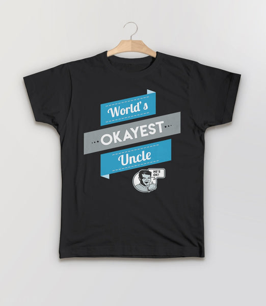 World's Okayest Uncle, Black Kids Tee by BootsTees