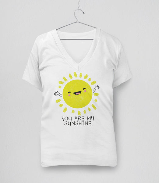 You Are My Sunshine T-Shirt with cute kawaii sun - womens v-neck