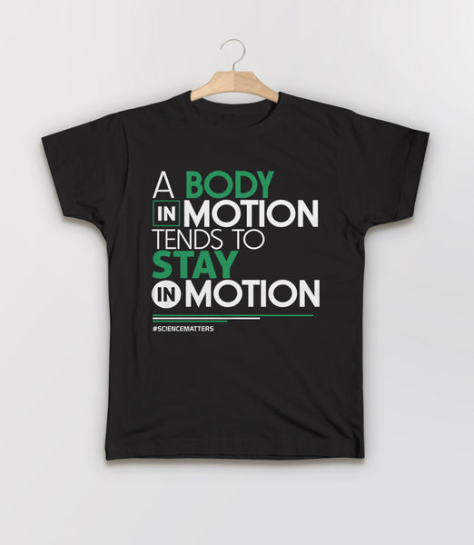 March for Science t-shirt: a body in motion - black kids tee