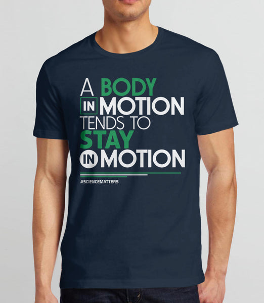 March for Science t-shirt: a body in motion - navy mens tee