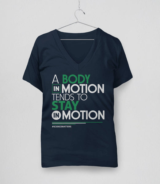 March for Science t-shirt: a body in motion - navy womens v-neck
