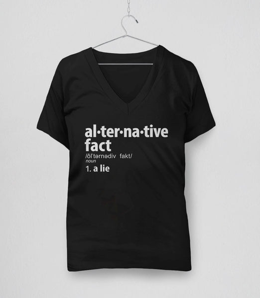 Alternative Fact Definition t-shirt: a lie - womens v-neck tee