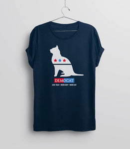 Demo-cat T-Shirt, Navy Unisex Tee by BootsTees