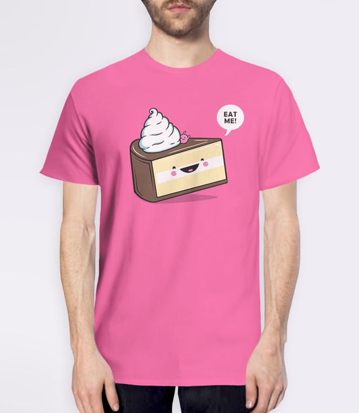 Eat Me | Alice in Wonderland quote t-shirt with cute kawaii cake - pink mens tee