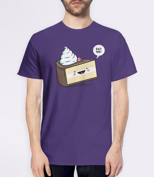 Eat Me | Alice in Wonderland quote t-shirt with cute kawaii cake - purple mens tee