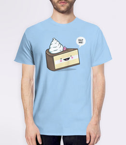 Eat Me | Alice in Wonderland quote t-shirt with cute kawaii cake - blue mens tee