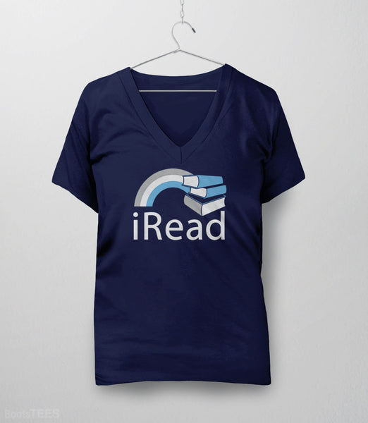 i Read, Navy Womens V-Neck by BootsTees