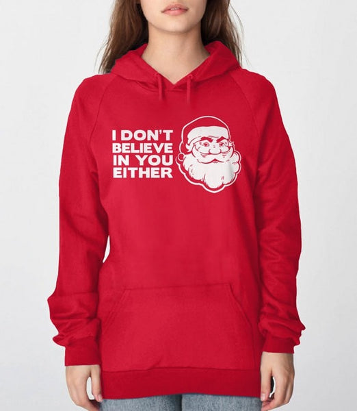 Disbelieving Santa | funny Christmas sweatshirt - red unisex hoodie