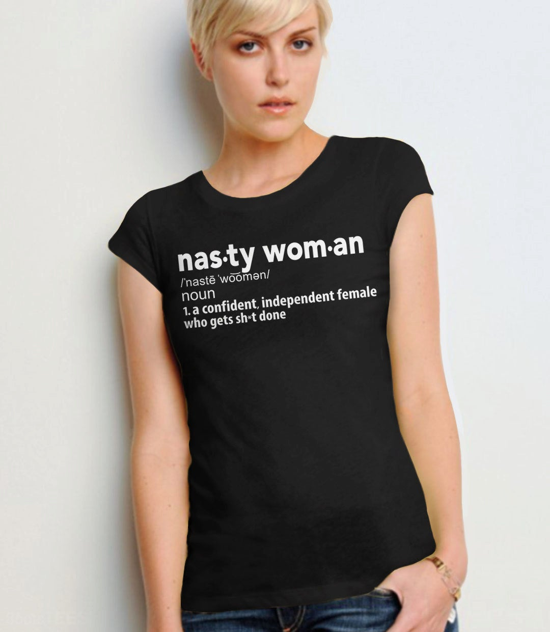 Nasty Woman Definition Shirt | feminist tee shirt, Black Unisex XS by BootsTees