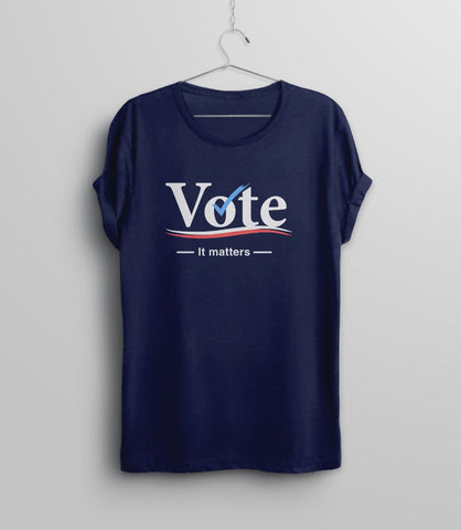 Vote Tshirt for Women, Navy Blue Unisex XS by BootsTees